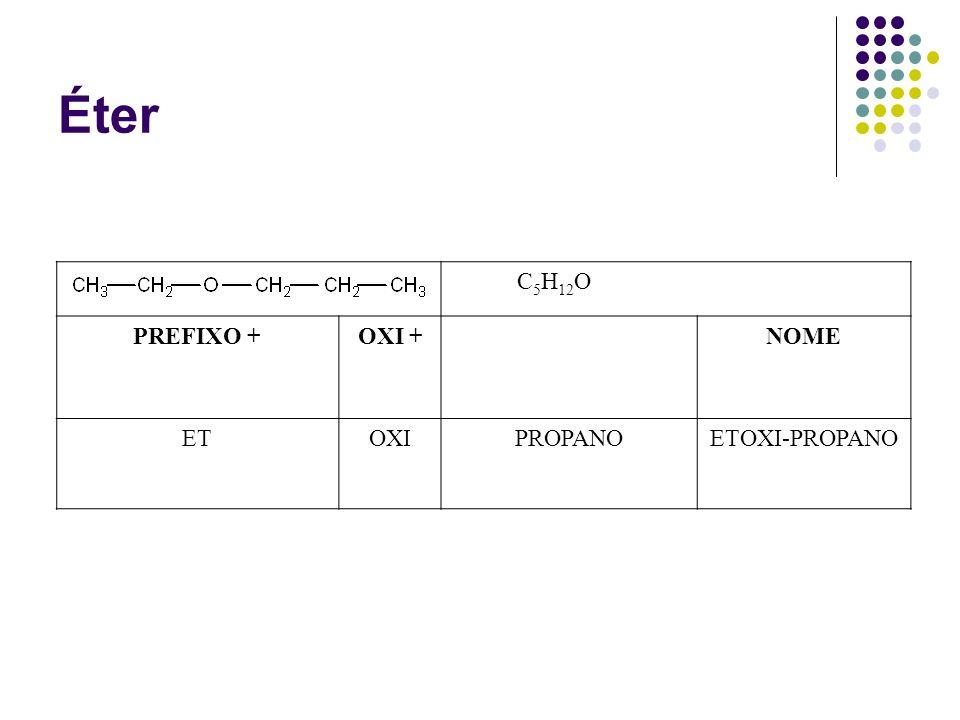 Éter C 5 H 12 O PREFIXO +OXI +NOME ETOXIPROPANOETOXI-PROPANO