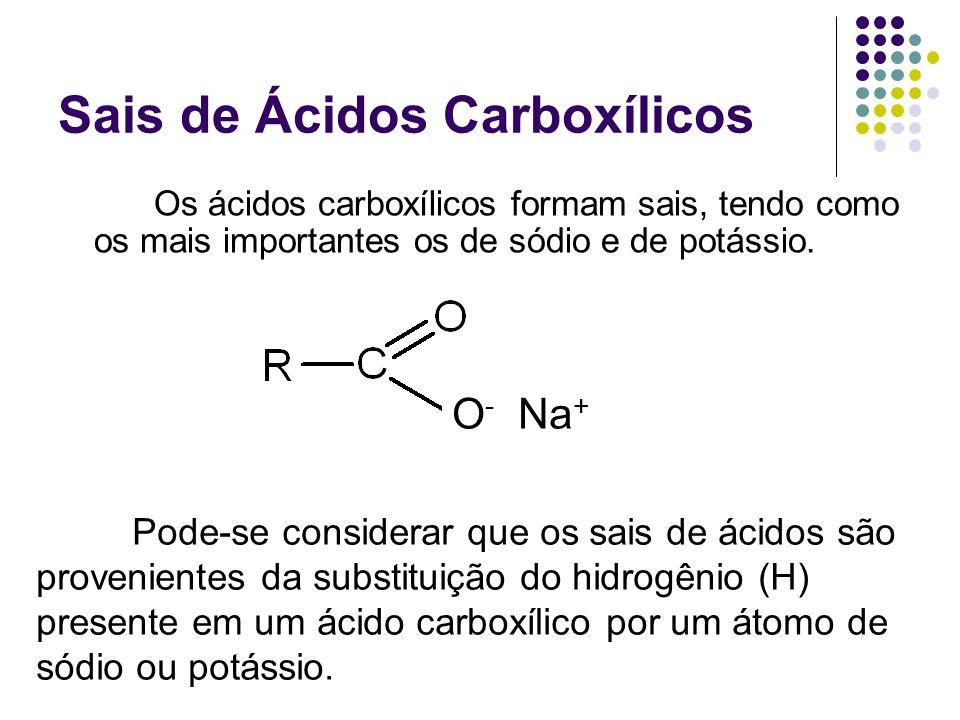 Sais de Ácidos Carboxílicos Os ácidos carboxílicos formam sais, tendo como os mais importantes os de sódio e de potássio. O - Na + Pode-se considerar