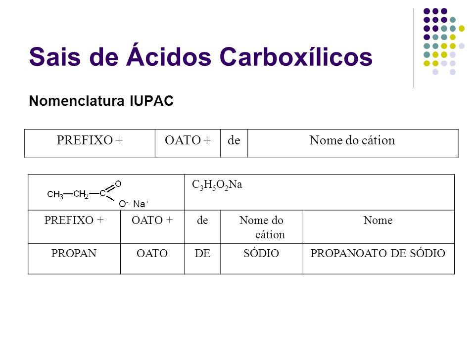 Sais de Ácidos Carboxílicos Nomenclatura IUPAC PREFIXO +OATO +deNome do cátion O - Na + C 3 H 5 O 2 Na PREFIXO +OATO +deNome do cátion Nome PROPANOATO