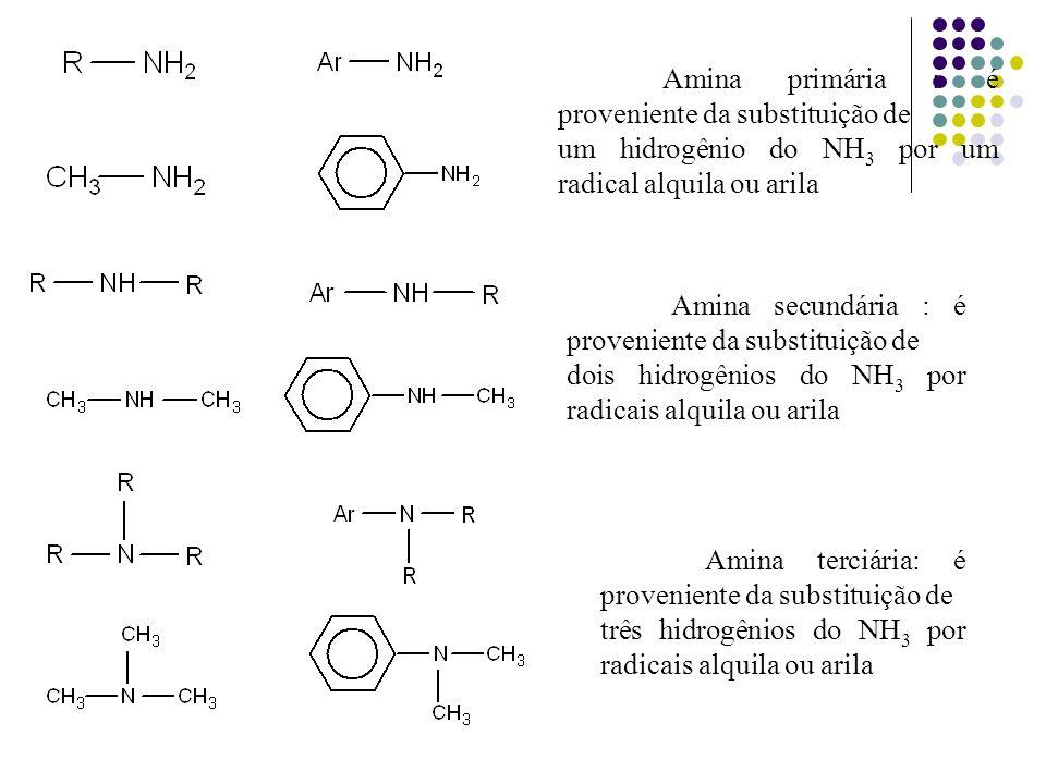Amina primária : é proveniente da substituição de um hidrogênio do NH 3 por um radical alquila ou arila Amina secundária : é proveniente da substituiç