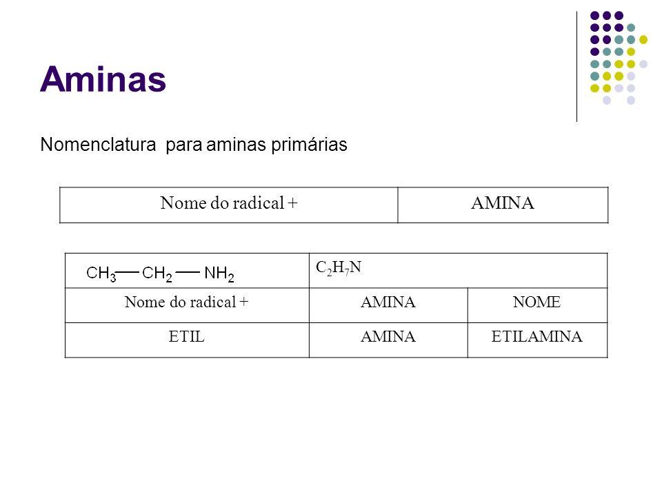 Aminas Nomenclatura para aminas primárias Nome do radical +AMINA C2H7NC2H7N Nome do radical +AMINANOME ETILAMINAETILAMINA