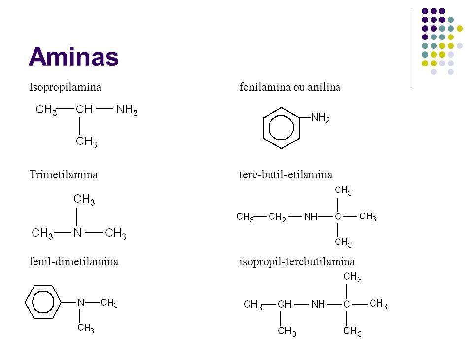 Aminas Isopropilaminafenilamina ou anilina Trimetilaminaterc-butil-etilamina fenil-dimetilaminaisopropil-tercbutilamina