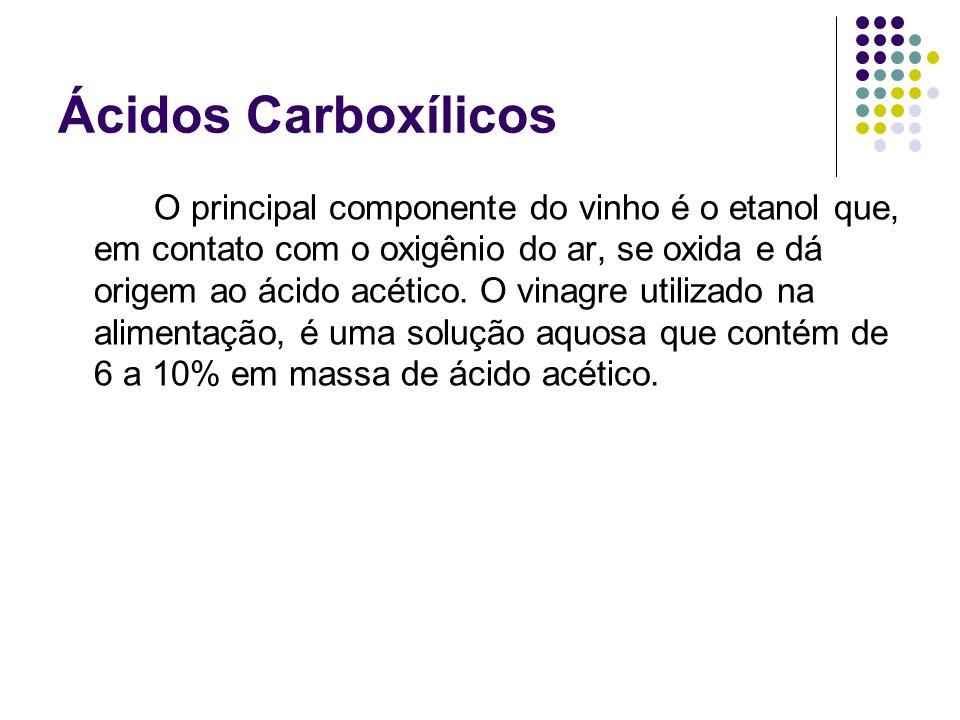 Ácidos Carboxílicos O principal componente do vinho é o etanol que, em contato com o oxigênio do ar, se oxida e dá origem ao ácido acético. O vinagre