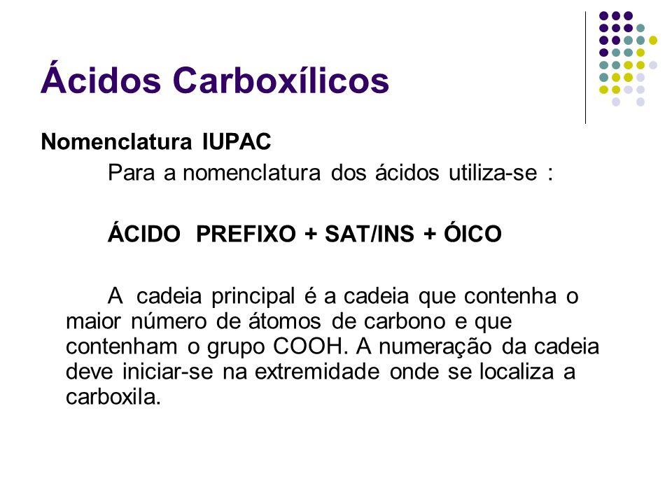 Ácidos Carboxílicos Nomenclatura IUPAC Para a nomenclatura dos ácidos utiliza-se : ÁCIDO PREFIXO + SAT/INS + ÓICO A cadeia principal é a cadeia que co