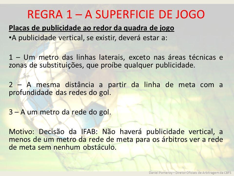 REGRA 1 – A SUPERFICIE DE JOGO Placas de publicidade ao redor da quadra de jogo A publicidade vertical, se existir, deverá estar a: 1 – Um metro das l