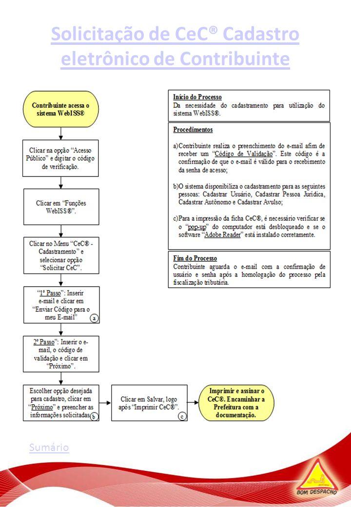 Solicitação de CeC® Cadastro eletrônico de Contribuinte Sumário