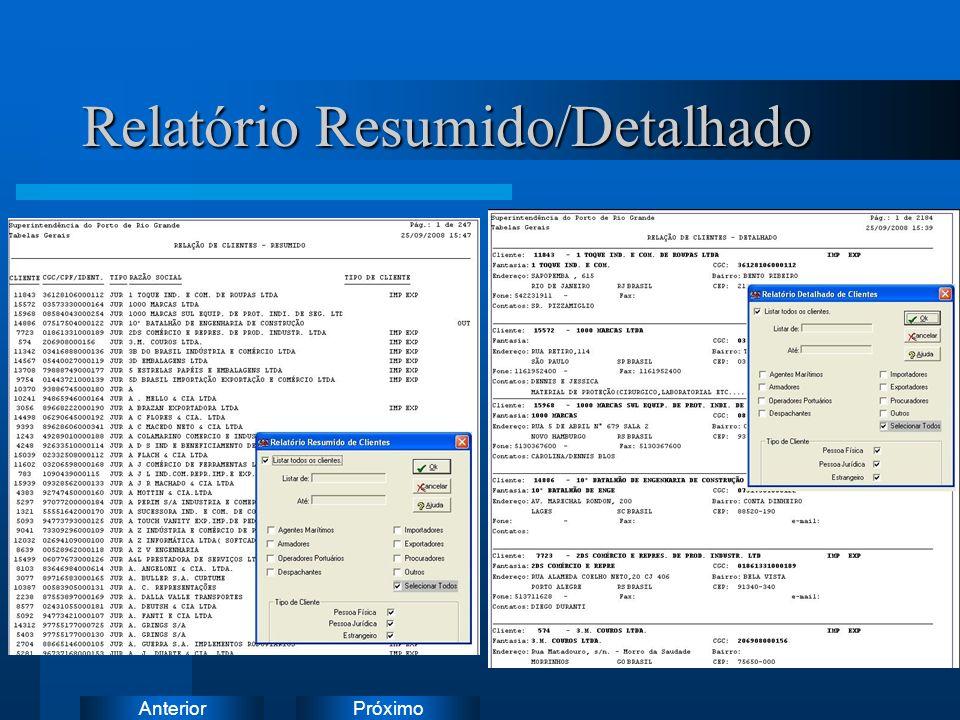 PróximoAnterior Relatório Resumido/Detalhado