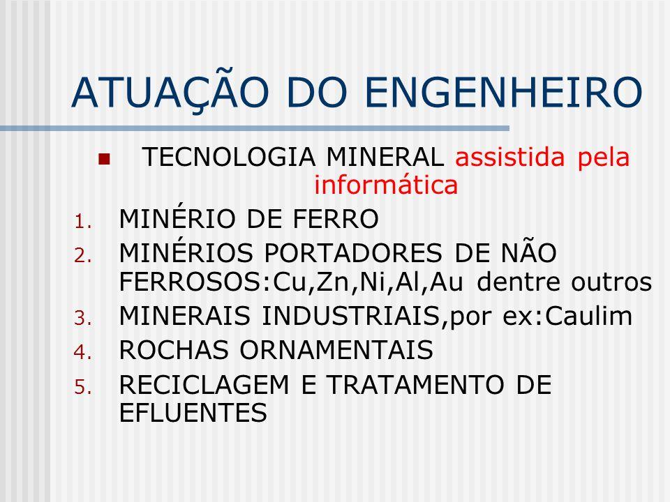 ATUAÇÃO DO ENGENHEIRO TECNOLOGIA MINERAL assistida pela informática 1.