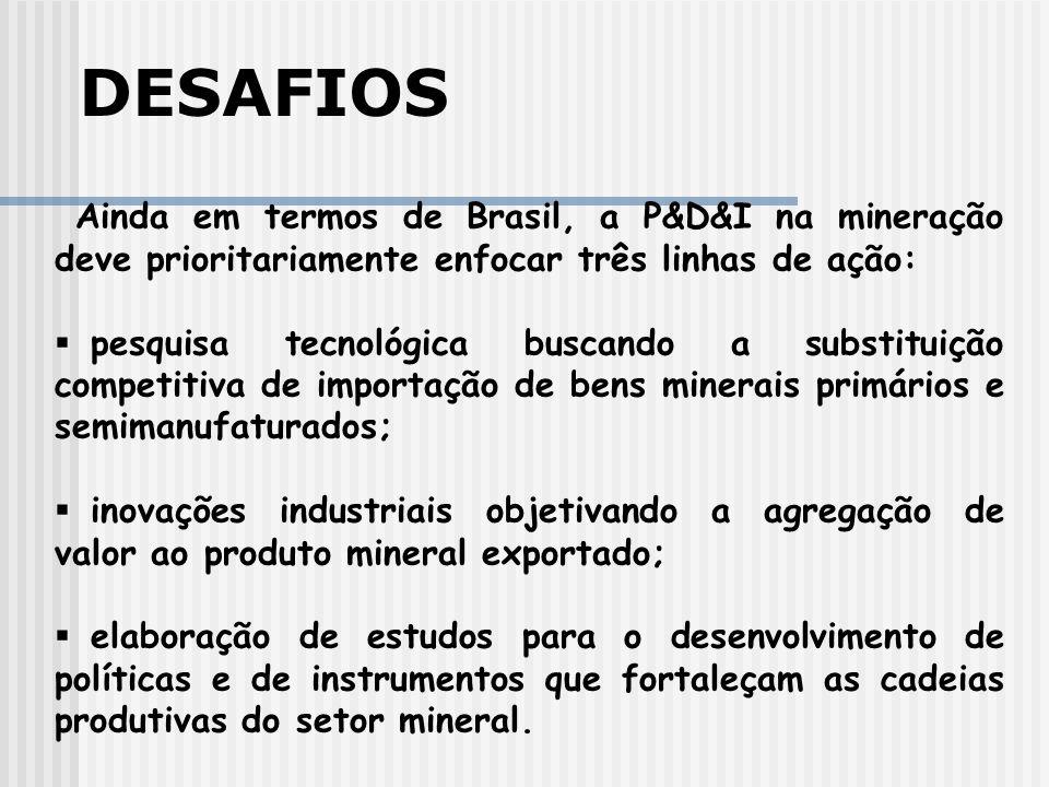 Ainda em termos de Brasil, a P&D&I na mineração deve prioritariamente enfocar três linhas de ação: pesquisa tecnológica buscando a substituição competitiva de importação de bens minerais primários e semimanufaturados; inovações industriais objetivando a agregação de valor ao produto mineral exportado; elaboração de estudos para o desenvolvimento de políticas e de instrumentos que fortaleçam as cadeias produtivas do setor mineral.
