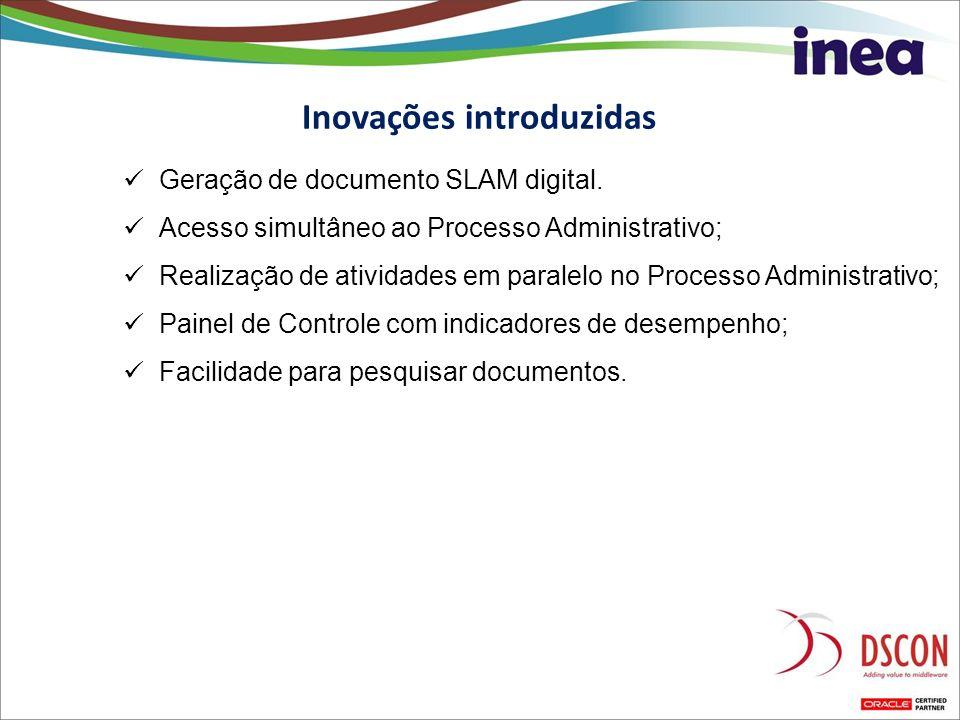Geração de documento SLAM digital. Acesso simultâneo ao Processo Administrativo; Realização de atividades em paralelo no Processo Administrativo; Pain
