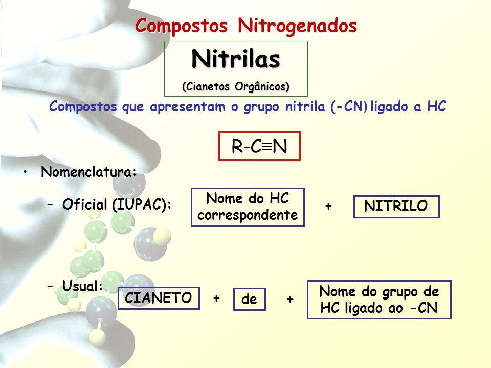 Compostos Nitrogenados Compostos que apresentam o grupo nitrila (-C N) ligado a HC Nomenclatura: –Oficial (IUPAC): –Usual: Nome do HC correspondente +