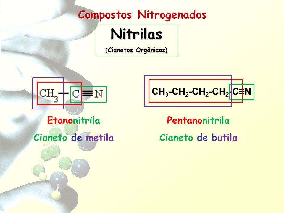 Compostos Nitrogenados Nitrilas (Cianetos Orgânicos) Etanonitrila Cianeto de metila CH 3 -CH 2 -CH 2 -CH 2 -CN Pentanonitrila Cianeto de butila