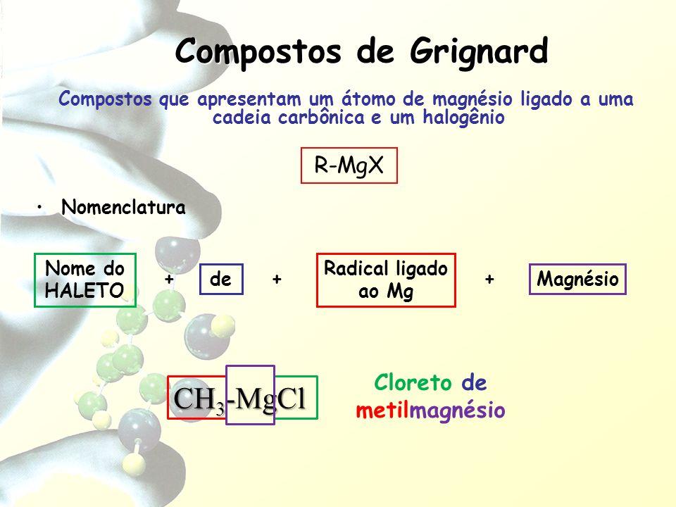 Compostos que apresentam um átomo de magnésio ligado a uma cadeia carbônica e um halogênio Nomenclatura Nome do HALETO + Radical ligado ao Mg Composto