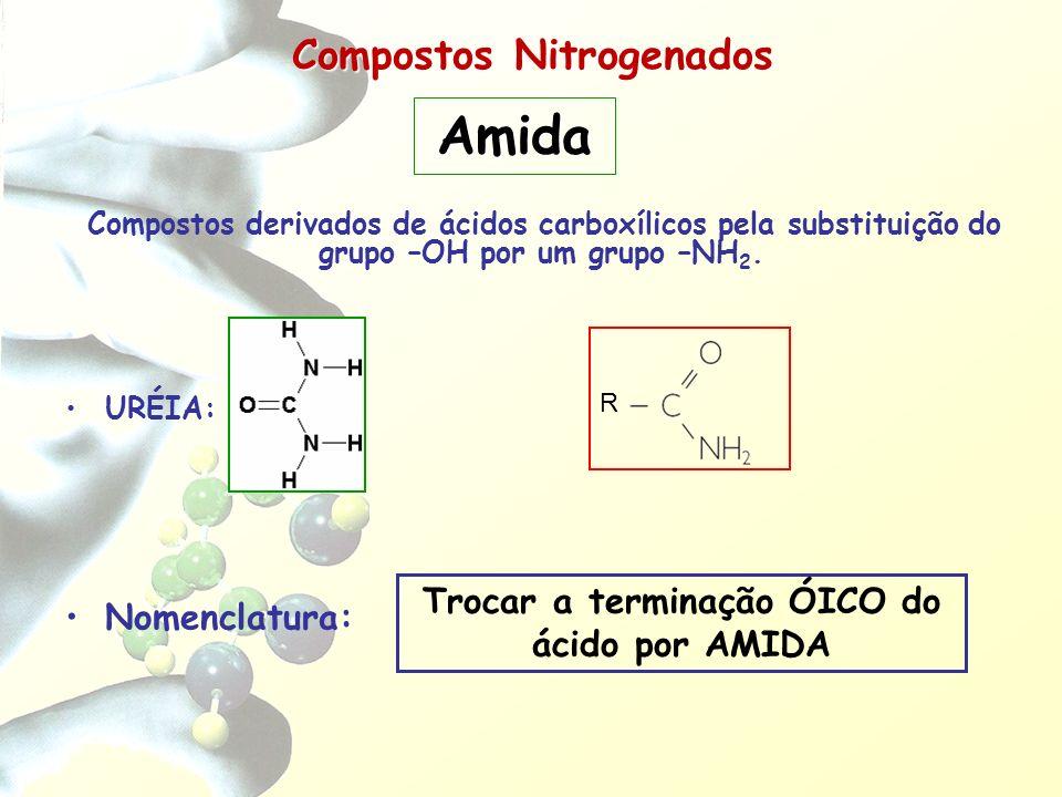 Compostos Nitrogenados Compostos derivados de ácidos carboxílicos pela substituição do grupo –OH por um grupo –NH 2. URÉIA: Nomenclatura: Trocar a ter