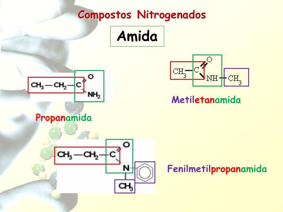 Compostos Nitrogenados Amida Propanamida Metiletanamida Fenilmetilpropanamida
