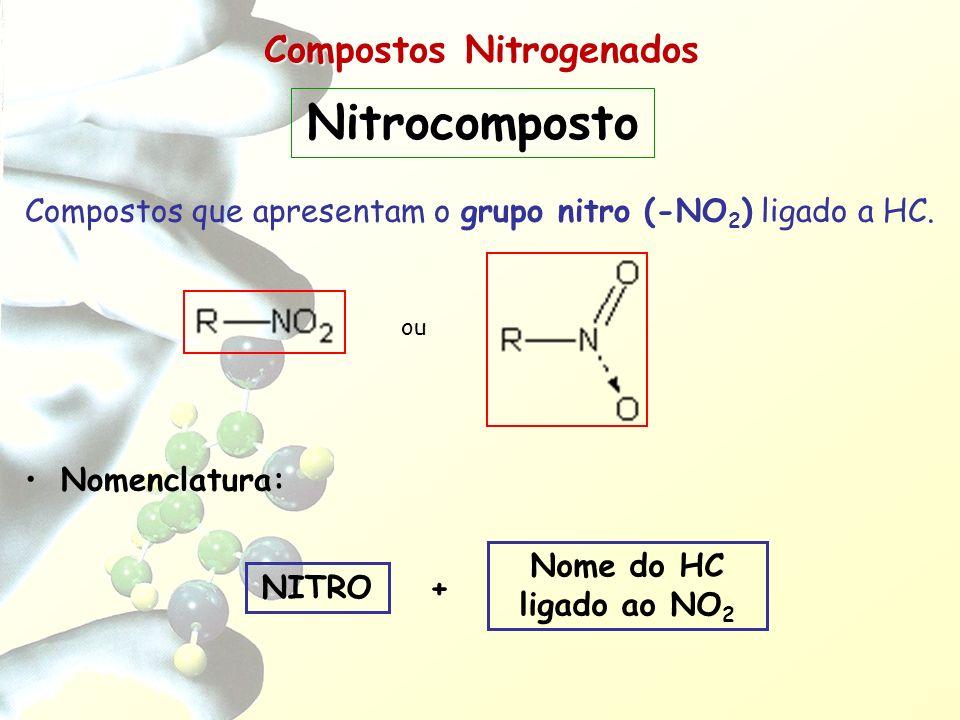 Compostos Nitrogenados Compostos que apresentam o grupo nitro (-NO 2 ) ligado a HC. Nomenclatura: Nome do HC ligado ao NO 2 + NITRO Nitrocomposto ou