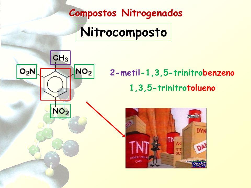 Compostos Nitrogenados Compostos que apresentam o grupo nitrila (-C N) ligado a HC Nomenclatura: –Oficial (IUPAC): –Usual: Nome do HC correspondente + NITRILO Nitrilas (Cianetos Orgânicos) R-C N CIANETO + Nome do grupo de HC ligado ao -CN de +