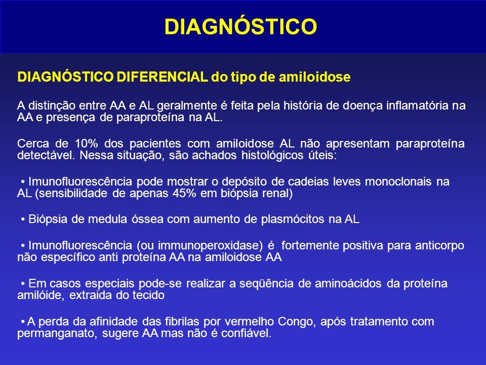 DIAGNÓSTICO DIAGNÓSTICO DIFERENCIAL do tipo de amiloidose A distinção entre AA e AL geralmente é feita pela história de doença inflamatória na AA e pr