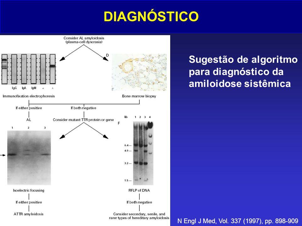 DIAGNÓSTICO Sugestão de algoritmo para diagnóstico da amiloidose sistêmica N Engl J Med, Vol. 337 (1997), pp. 898-909