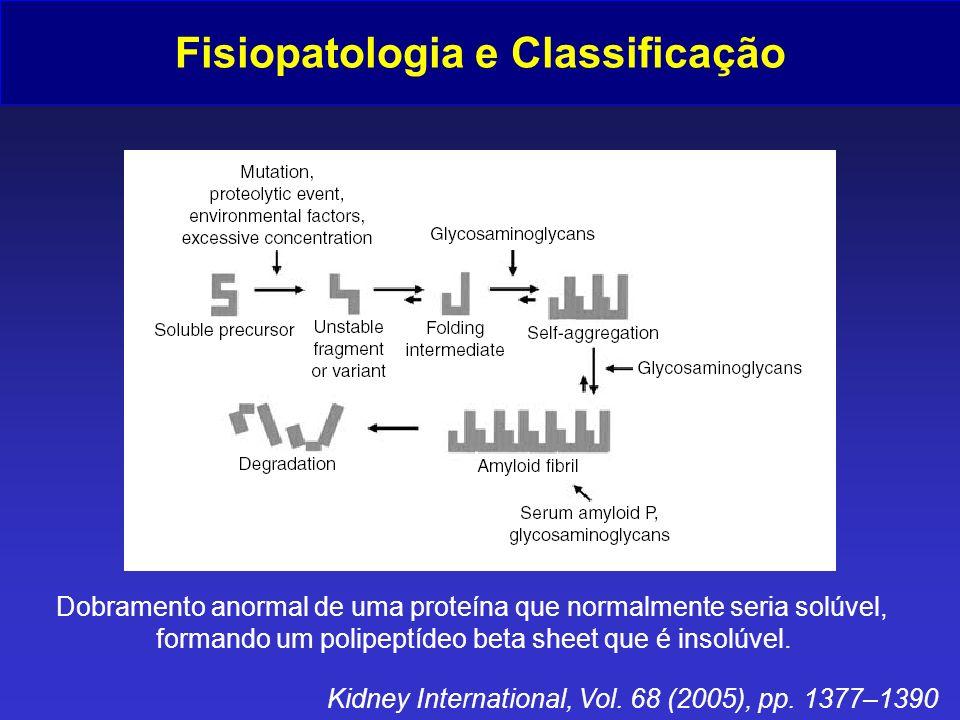 Fisiopatologia e Classificação Kidney International, Vol. 68 (2005), pp. 1377–1390 Dobramento anormal de uma proteína que normalmente seria solúvel, f