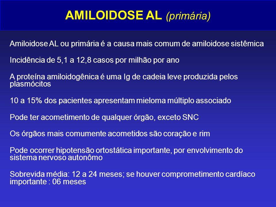 AMILOIDOSE AL (primária) Amiloidose AL ou primária é a causa mais comum de amiloidose sistêmica Incidência de 5,1 a 12,8 casos por milhão por ano A pr