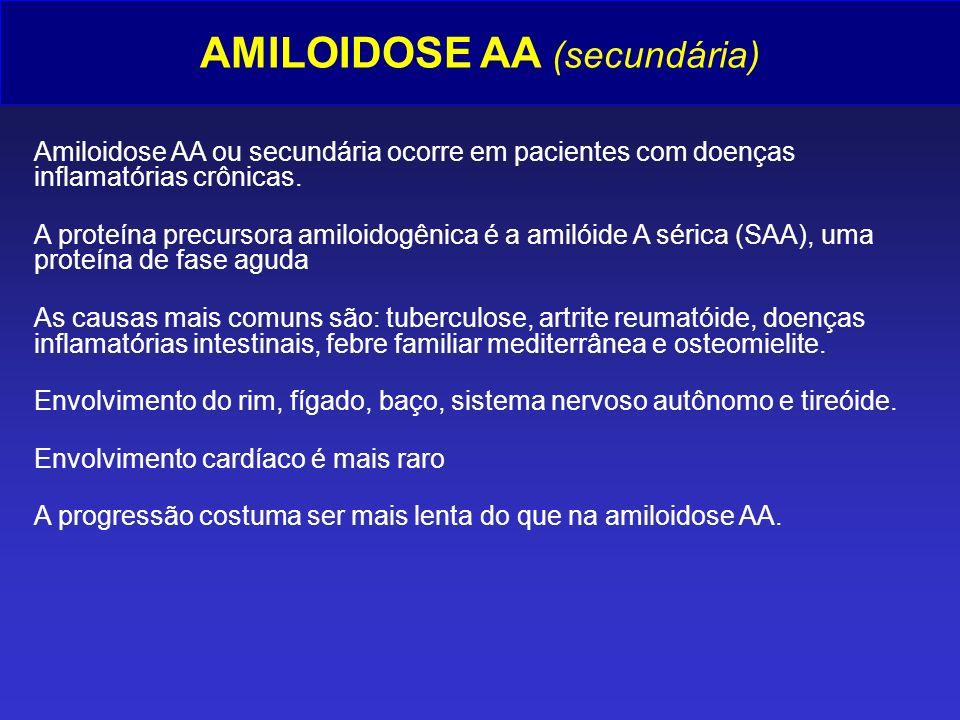 AMILOIDOSE AA (secundária) Amiloidose AA ou secundária ocorre em pacientes com doenças inflamatórias crônicas. A proteína precursora amiloidogênica é