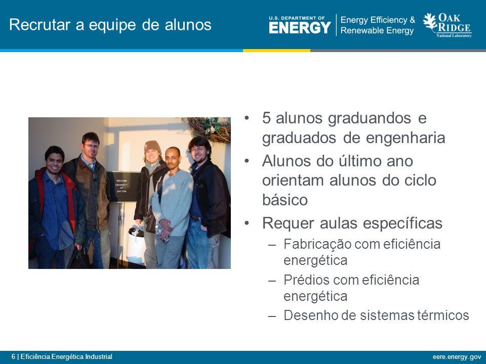 6 | Eficiência Energética Industrialeere.energy.gov Recrutar a equipe de alunos 5 alunos graduandos e graduados de engenharia Alunos do último ano orientam alunos do ciclo básico Requer aulas específicas –Fabricação com eficiência energética –Prédios com eficiência energética –Desenho de sistemas térmicos