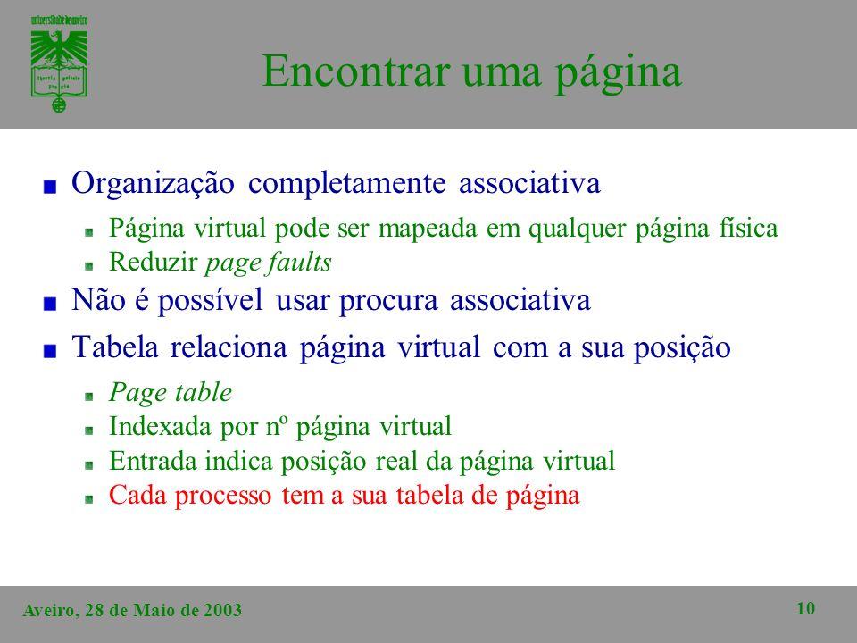 Aveiro, 28 de Maio de 2003 10 Encontrar uma página Organização completamente associativa Página virtual pode ser mapeada em qualquer página física Red