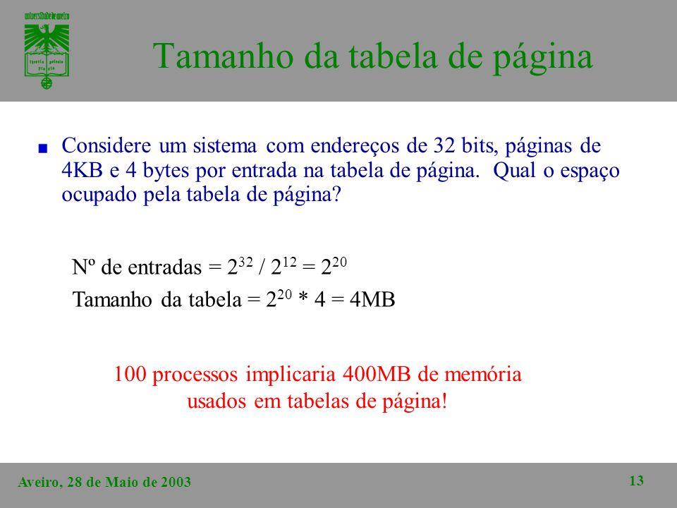 Aveiro, 28 de Maio de 2003 13 Tamanho da tabela de página Considere um sistema com endereços de 32 bits, páginas de 4KB e 4 bytes por entrada na tabel