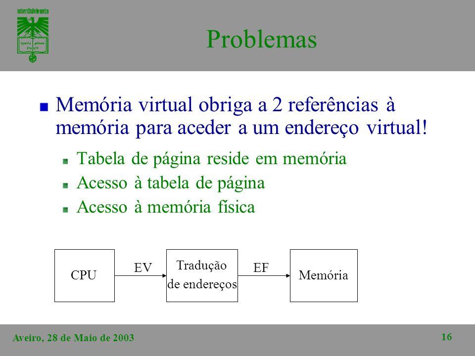 Aveiro, 28 de Maio de 2003 16 Problemas Memória virtual obriga a 2 referências à memória para aceder a um endereço virtual! Tabela de página reside em