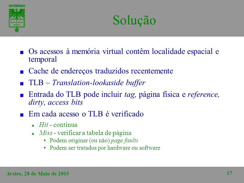 Aveiro, 28 de Maio de 2003 17 Solução Os acessos à memória virtual contêm localidade espacial e temporal Cache de endereços traduzidos recentemente TL