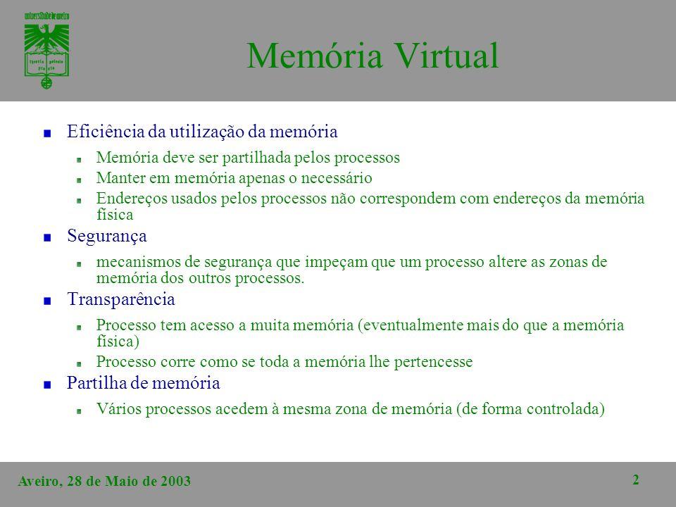 Aveiro, 28 de Maio de 2003 2 Memória Virtual Eficiência da utilização da memória Memória deve ser partilhada pelos processos Manter em memória apenas