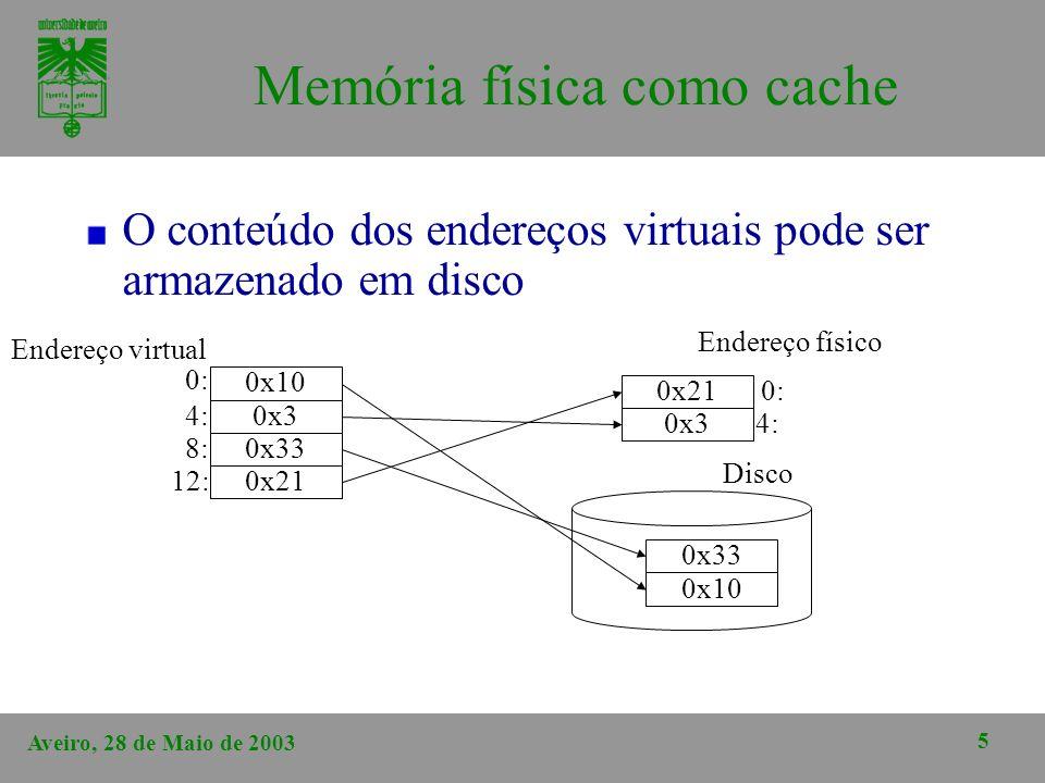 Aveiro, 28 de Maio de 2003 5 Memória física como cache O conteúdo dos endereços virtuais pode ser armazenado em disco 0x10 0x3 0x33 0x21 Endereço virt