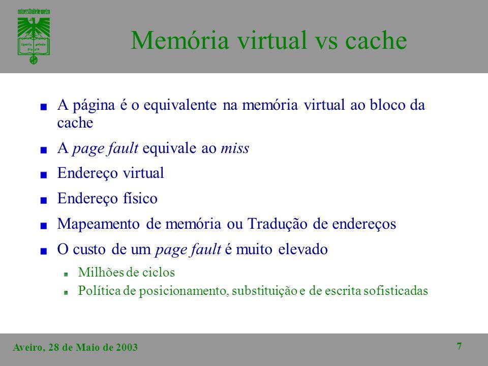 Aveiro, 28 de Maio de 2003 7 Memória virtual vs cache A página é o equivalente na memória virtual ao bloco da cache A page fault equivale ao miss Ende