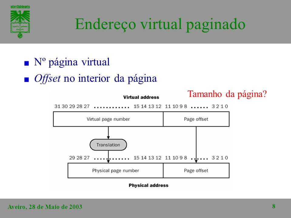 Aveiro, 28 de Maio de 2003 8 Endereço virtual paginado Nº página virtual Offset no interior da página Tamanho da página?