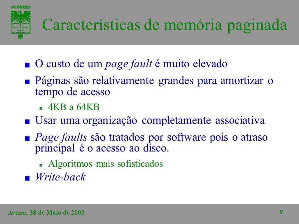 Aveiro, 28 de Maio de 2003 9 Características de memória paginada O custo de um page fault é muito elevado Páginas são relativamente grandes para amort