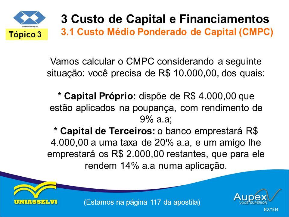 3 Custo de Capital e Financiamentos 3.1 Custo Médio Ponderado de Capital (CMPC) (Estamos na página 117 da apostila) 82/104 Tópico 3 Vamos calcular o CMPC considerando a seguinte situação: você precisa de R$ 10.000,00, dos quais: * Capital Próprio: dispõe de R$ 4.000,00 que estão aplicados na poupança, com rendimento de 9% a.a; * Capital de Terceiros: o banco emprestará R$ 4.000,00 a uma taxa de 20% a.a, e um amigo lhe emprestará os R$ 2.000,00 restantes, que para ele rendem 14% a.a numa aplicação.