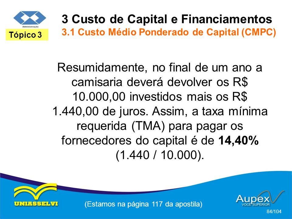 3 Custo de Capital e Financiamentos 3.1 Custo Médio Ponderado de Capital (CMPC) (Estamos na página 117 da apostila) 84/104 Tópico 3 Resumidamente, no final de um ano a camisaria deverá devolver os R$ 10.000,00 investidos mais os R$ 1.440,00 de juros.