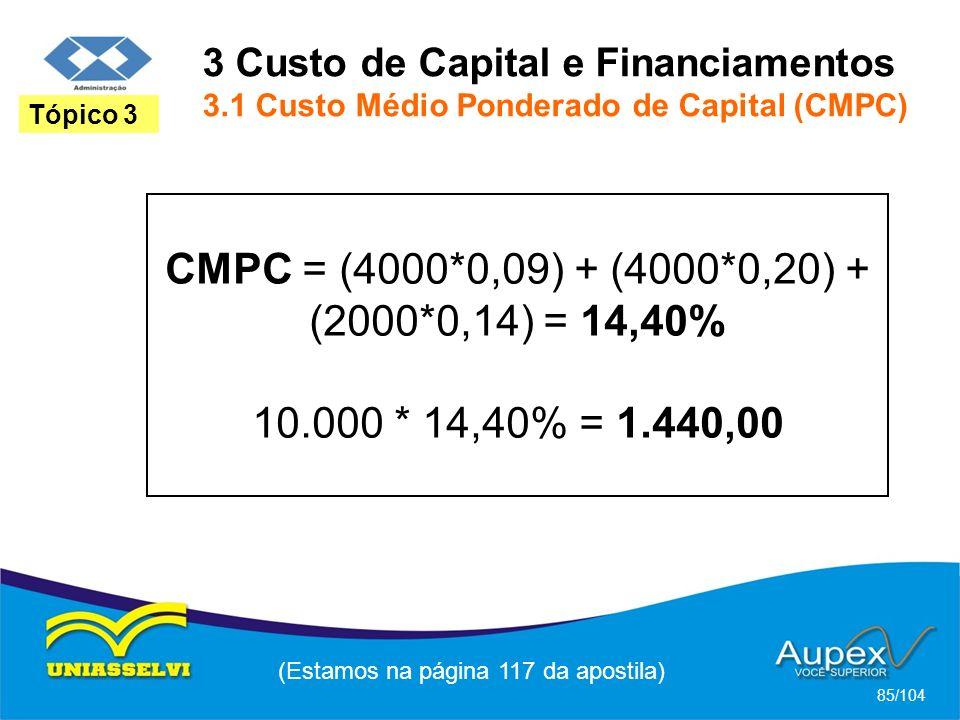 3 Custo de Capital e Financiamentos 3.1 Custo Médio Ponderado de Capital (CMPC) (Estamos na página 117 da apostila) 85/104 Tópico 3 CMPC = (4000*0,09) + (4000*0,20) + (2000*0,14) = 14,40% 10.000 * 14,40% = 1.440,00