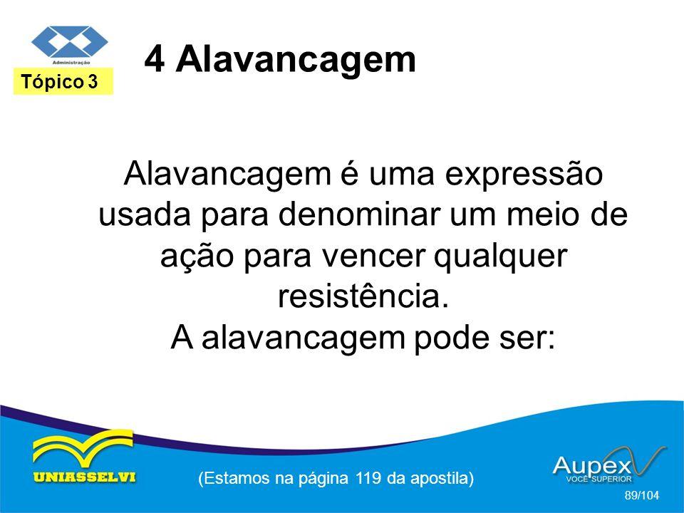 4 Alavancagem (Estamos na página 119 da apostila) 89/104 Tópico 3 Alavancagem é uma expressão usada para denominar um meio de ação para vencer qualquer resistência.