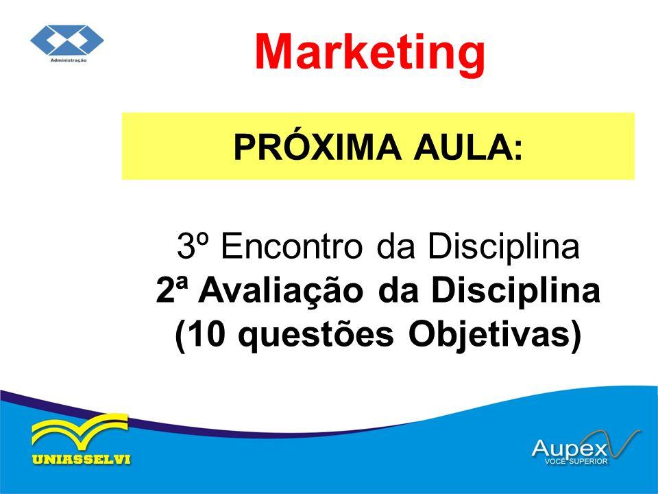 PRÓXIMA AULA: Marketing 3º Encontro da Disciplina 2ª Avaliação da Disciplina (10 questões Objetivas)