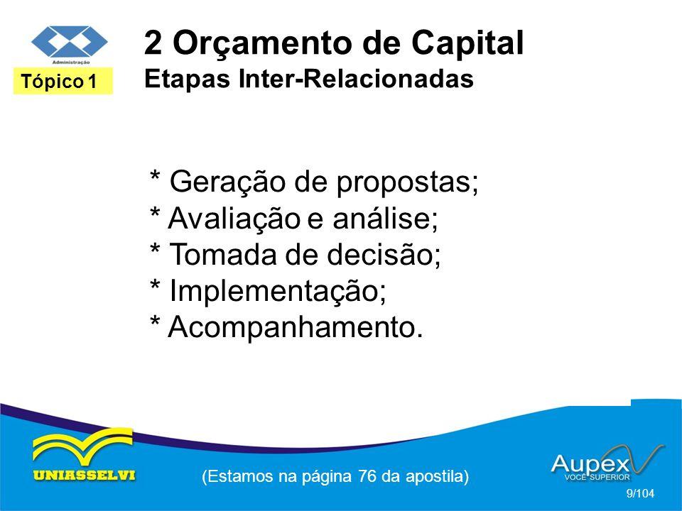 2 Orçamento de Capital Etapas Inter-Relacionadas (Estamos na página 76 da apostila) 9/104 Tópico 1 * Geração de propostas; * Avaliação e análise; * Tomada de decisão; * Implementação; * Acompanhamento.