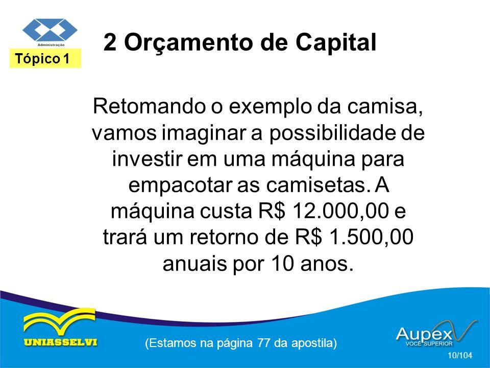 2 Orçamento de Capital (Estamos na página 77 da apostila) 10/104 Tópico 1 Retomando o exemplo da camisa, vamos imaginar a possibilidade de investir em