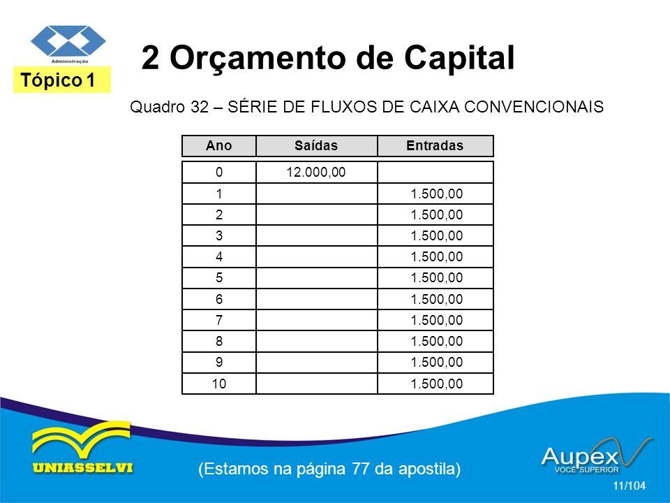 2 Orçamento de Capital (Estamos na página 77 da apostila) 11/104 Tópico 1 Quadro 32 – SÉRIE DE FLUXOS DE CAIXA CONVENCIONAIS Ano 0 1 2 3 4 5 6 7 8 9 10 Saídas 12.000,00 Entradas 1.500,00