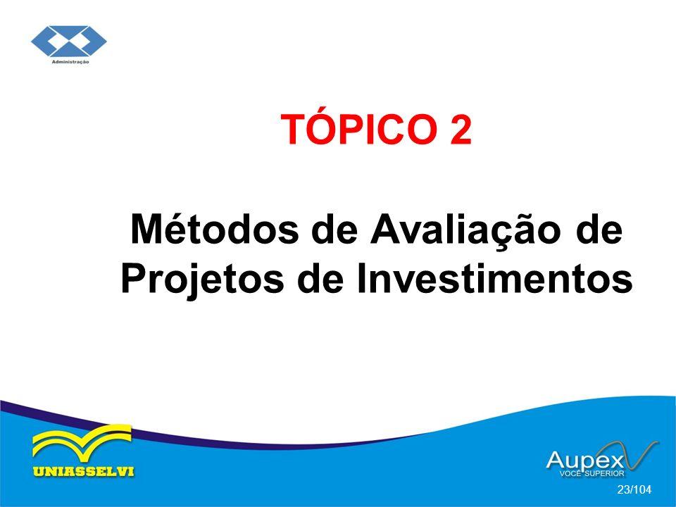 TÓPICO 2 Métodos de Avaliação de Projetos de Investimentos 23/104