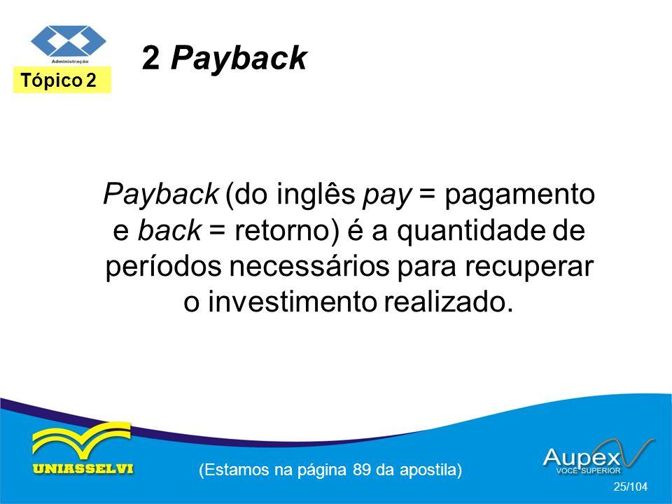 2 Payback (Estamos na página 89 da apostila) 25/104 Tópico 2 Payback (do inglês pay = pagamento e back = retorno) é a quantidade de períodos necessários para recuperar o investimento realizado.