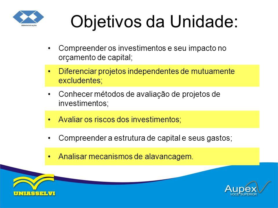 Objetivos da Unidade: Compreender os investimentos e seu impacto no orçamento de capital; Diferenciar projetos independentes de mutuamente excludentes
