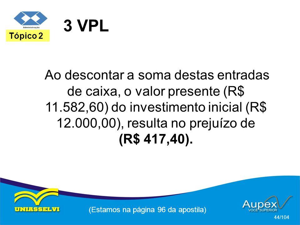 3 VPL (Estamos na página 96 da apostila) 44/104 Tópico 2 Ao descontar a soma destas entradas de caixa, o valor presente (R$ 11.582,60) do investimento inicial (R$ 12.000,00), resulta no prejuízo de (R$ 417,40).