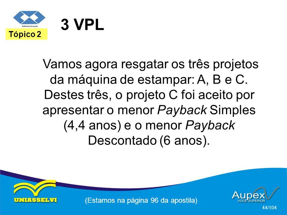 3 VPL (Estamos na página 96 da apostila) 44/104 Tópico 2 Vamos agora resgatar os três projetos da máquina de estampar: A, B e C.