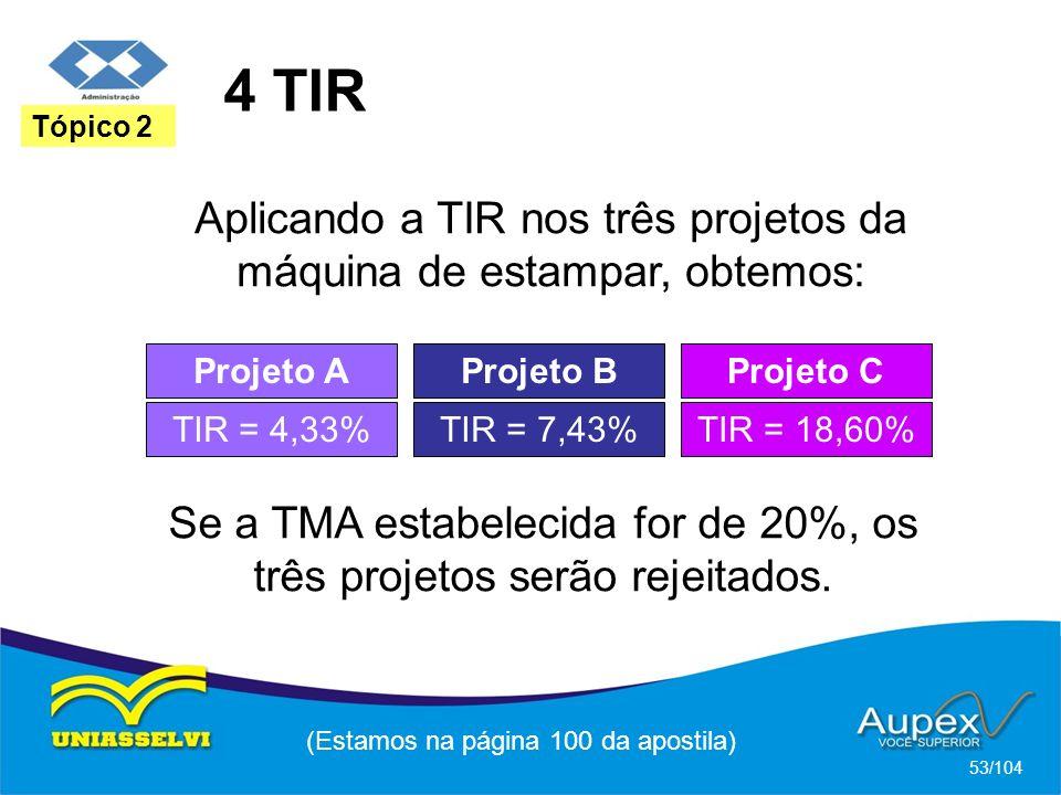 4 TIR (Estamos na página 100 da apostila) 53/104 Tópico 2 Aplicando a TIR nos três projetos da máquina de estampar, obtemos: Projeto A TIR = 4,33% Projeto B TIR = 7,43% Projeto C TIR = 18,60% Se a TMA estabelecida for de 20%, os três projetos serão rejeitados.